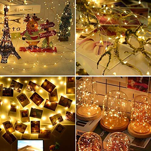 16 Pezzi Luci LED Batteria, Catena Luminosa 2m 20 LED Fairy Light Filo Rame Ghirlanda Luminosa Lucine LED Decorative Waterproof luci di Natale per Camere da Letto Giardino Feste