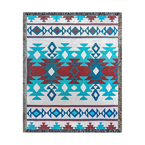 Silkmood Stylish Handwoven Multifunctional Hippie Beach Throw Tapestry Rug Portable Chic Blanket with A Colorful Kilim-Inspired Motif Lively Update by Nine Multicolor Palette (Glass)