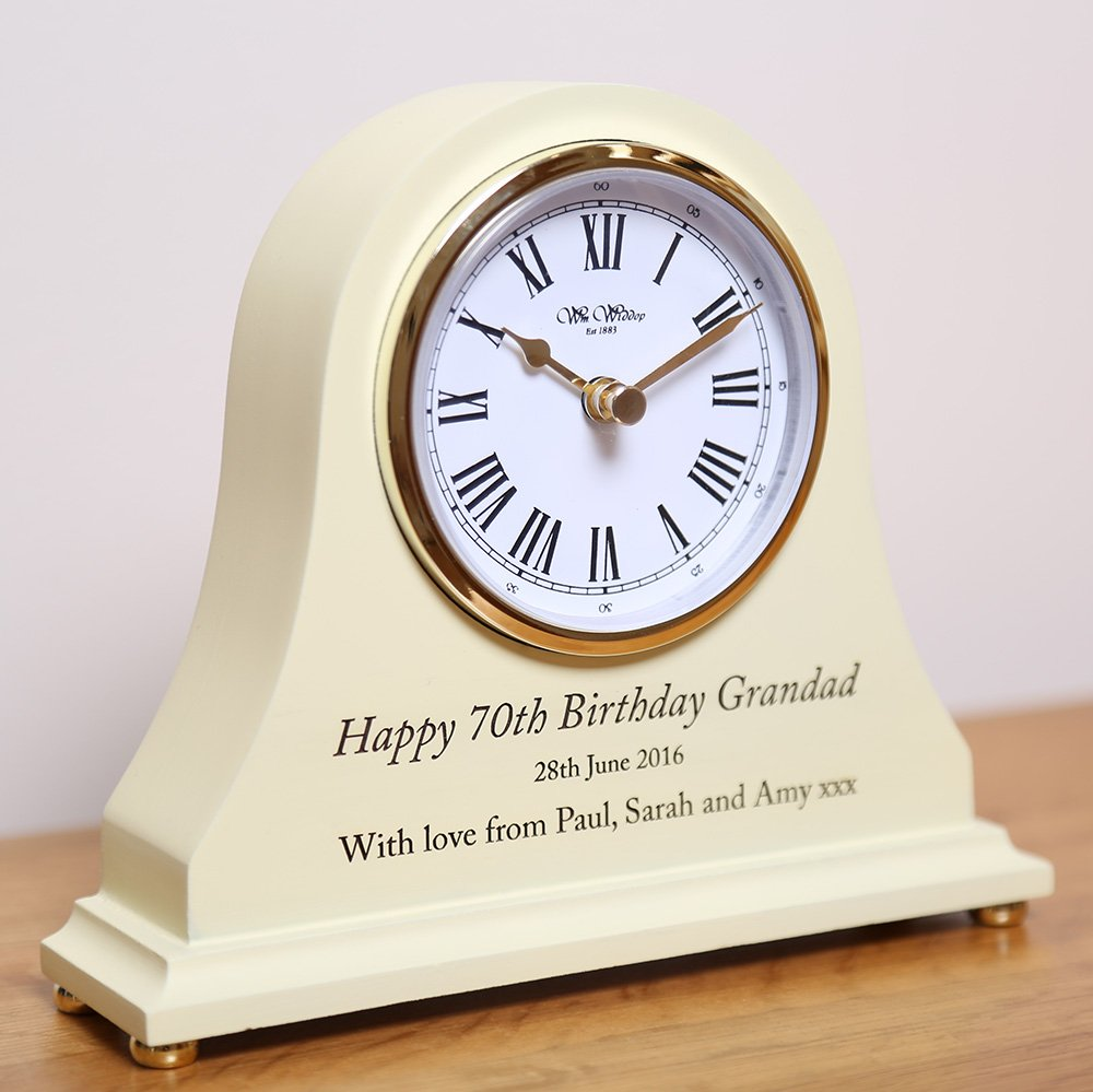 Mens 70th Birthday Gift Engraved Wooden Clock Men