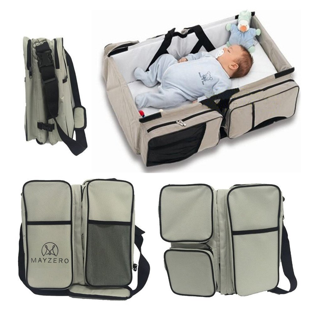 Travel Portable Bassinet 3 in 1 Diaper Bag Travel Baby Bed and Portable Changing Station, Multipurpose Baby Diaper Tote Bag Bed Upgraded Version MAYZERO