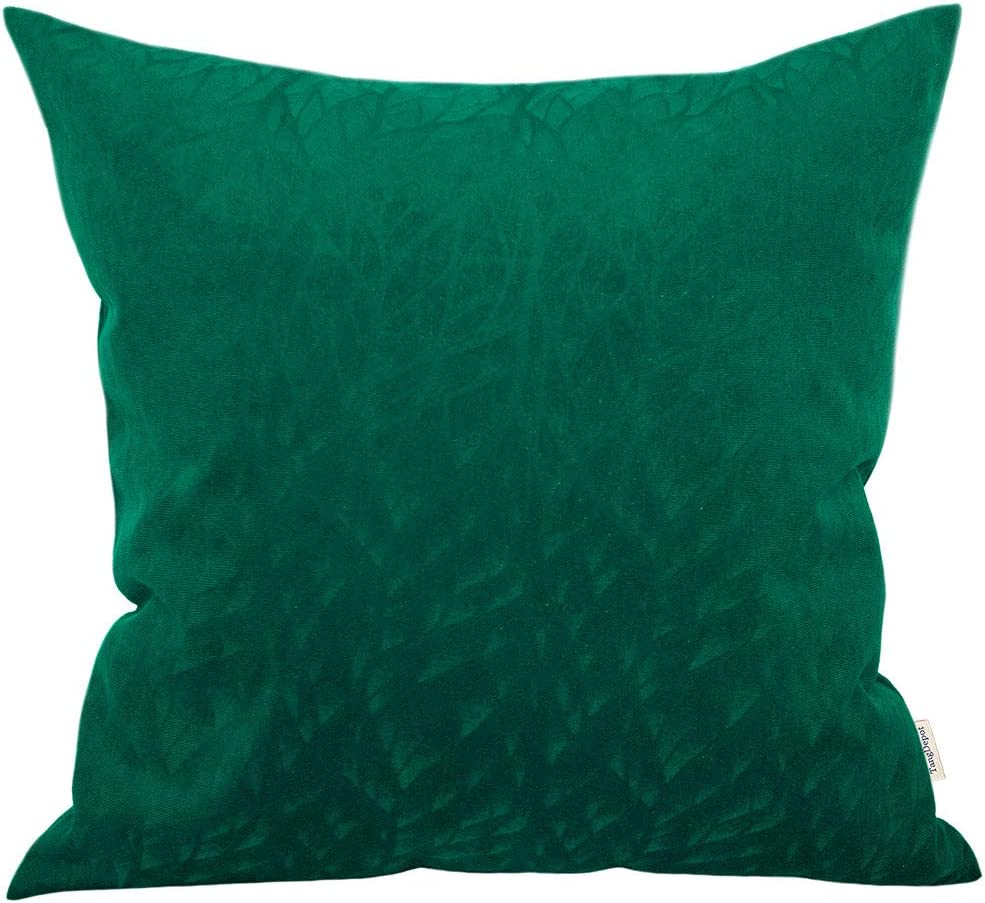 12x12, Black TangDepot Solid Velvet Decorative Pillow Covers//Euro Pillow Shams Micro Embossed Leaf Texture and Shape,Indoor//Outdoor Pillowcase,Cushion Cover - Super Soft Velour