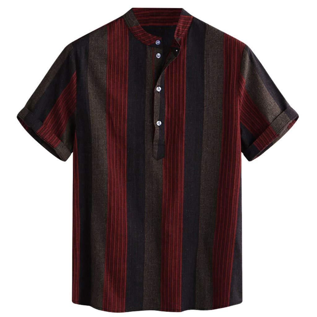Mens Dress Shirts Regular Fit Short Sleeve Men Shirt Red by Donci T Shirt