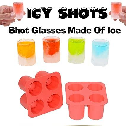 hapileap silicona molde de hielo vasos de chupito – 4 vasos cuadrado cubo de hielo moldes