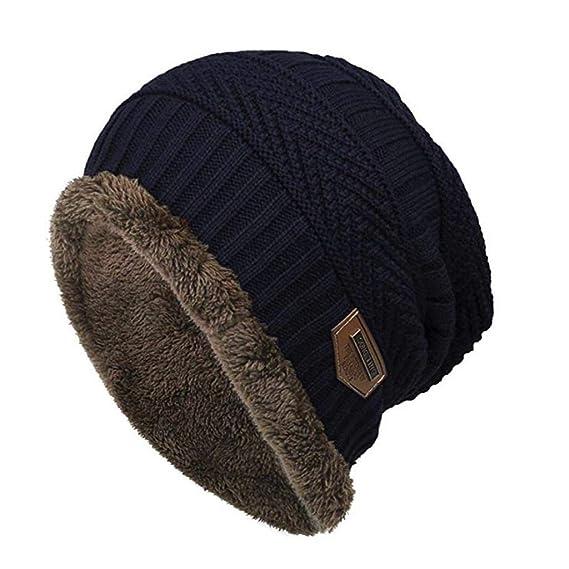 QUICKLYLY Gorros Tejidos Unisex Hombres Mujeres Invierno Cálido Sombrero de  Punto Al Aire Libre de 3cd79c0b1e7