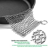 KitCast (6 in One + e Book)- Cast Iron Cleaner XL 8x6 Premium Stainless Steel Chainmail Scrubber With Bonus Iron Skillet Handle Holder + Pan Scraper + Grill Scraper + Kitchen Towel + Drying Hook