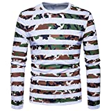 Mens Shirt,Haoricu Hot Sale! Men's Casual Camouflage Stripe Top O Neck Pullover Long Sleeved T-shirt Blouse (L, White)