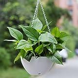 Hanging Flower Plant Pot,Hmane Chain Plastic Basket Planter Holder Patio Home Decoration - White