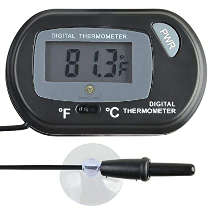 Digital Thermometer - for Monitoring Ideal Reptile Tank Temperature - with Waterproof Sensor Probe - Easy to Read LCD Display - Includes Replaceable ...