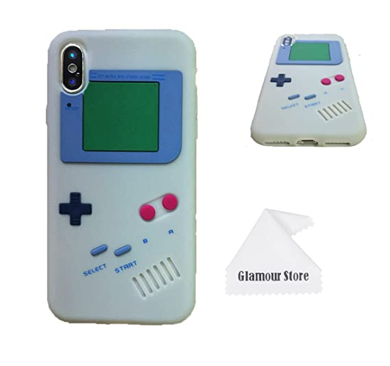 promo code 9f2e8 8055e iPhone X Case,Retro 3D Game Boy Gameboy Design Style Soft Silicone Cover  Case For Apple iPhone X 5.8 inch+ Free Cleaning Cloth As a Gift (Gray)