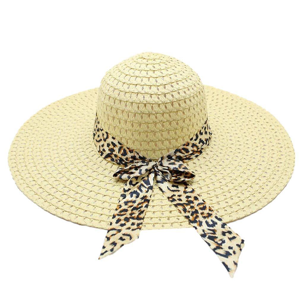 WUAI Womens Wide Brim Straw Hats Leopard Print Sun hat Folding Travel Beach Cap(Light Blue,Free Size)