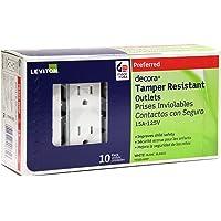 Deals on 10PK Leviton T5325-WMP 15 Amp 125 Volt Tamper Resistant