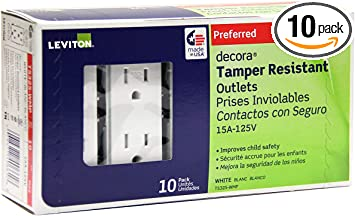 15 Amp Electrical Wall Switches LEVITON White Grounding Duplex Outlet 10 Pack