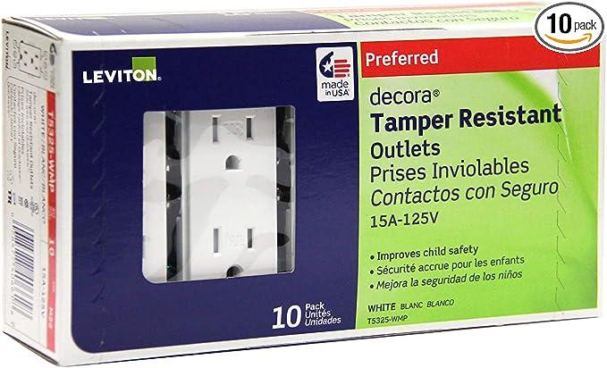 Leviton 202-T5325-00e Black 15 Amp 125 Volt Tamper Resistant Grounding Receptacl