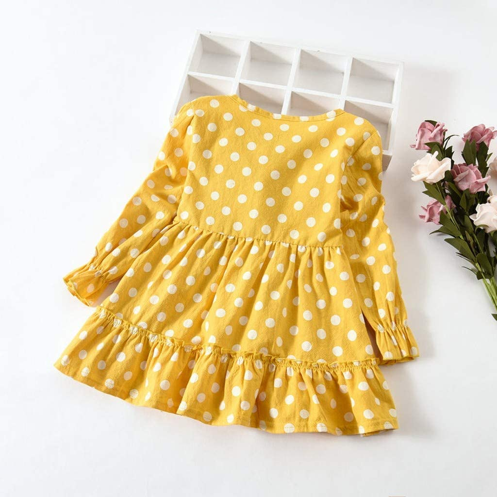 WOCACHI Toddler Baby Girls Dresses Toddler Baby Girls Long Sleeve Solid Ruched Floral Flower Bow Dressed Clothes
