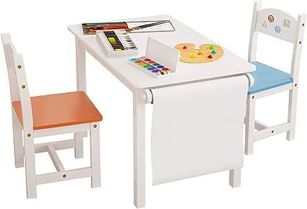 Homfa Juego de Mesa y 2 Sillas para Niños Muebles Infantiles Mesa con Sillas para Ñinos de 2-10 Años Blanco: Amazon.es: Hogar