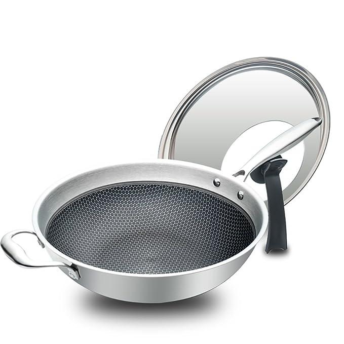 Wok Estufa De Gas Antiadherente Antiadherente Sin Revestimiento 304 del Acero Inoxidable del Hogar del Horno Olla De Cocinar Multifuncional con Los 32cm ...