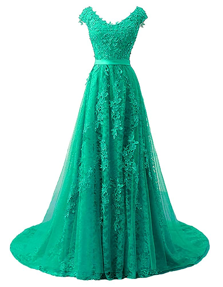 Green Baixia Womens Tulle Lace Embroidery Prom Wedding Party Fromal Dresses