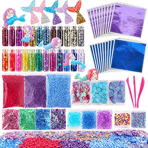 - Holicolor 72 Pcs Slime Making Supplies Kit Slime Add Ins Set Include Foam Balls, Fishbowl Beads, Glitter Sequins Accessories, Shells, Mermaid Slime Charms for Slime Party or Mermaid Party