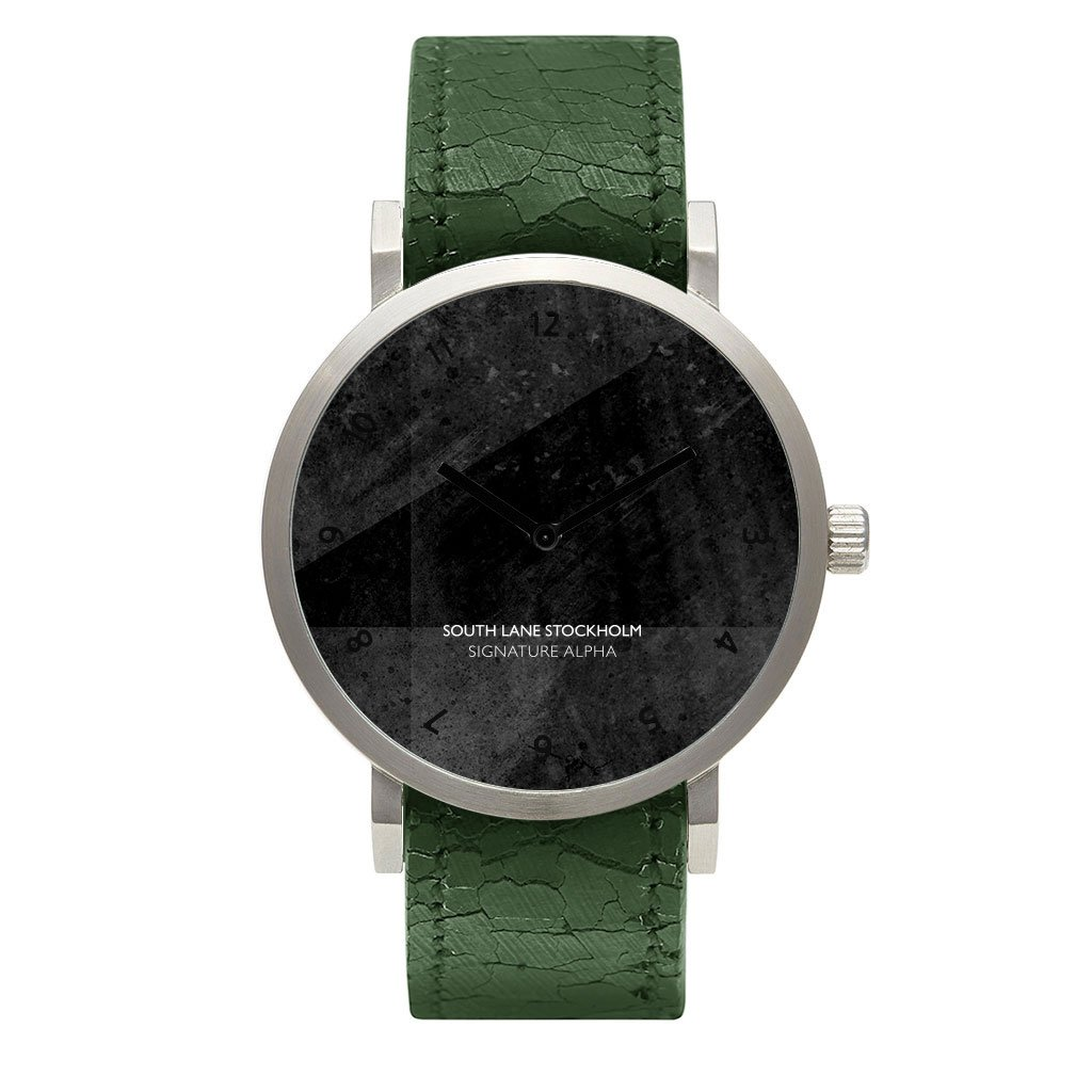 South Lane 'SIGNATURE ALPHA' Quartz Stainless Steel and Leather Casual Watch, Color:Green (Model: 659436314627)