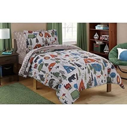 Mainstays Kid's Camping Design Bedding Set in a Bag TWIN SIZE