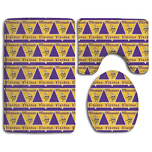 Marrytiny Design Colorful Non Slip 3 Piece Doormat American Football Team Minnesota Vikings Anti-Skid Bathroom Rug Set Bath Mat + Contour Rug + Toilet Lid Cover