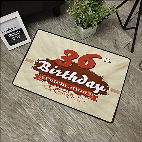 Anzhutwelve 36th Birthday,Carpet Flooring Birthday Celebration Invite Chocolate Wrap Like Image Middle Age W 20