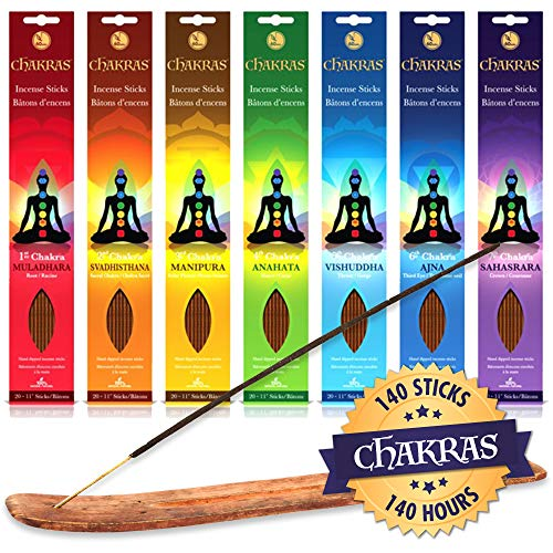 Chakras Incense – 140x Sticks lasting 60+ minutes each + Burner Included – 400+ gram pack – Natural Hand Dipped Perfect For Meditation, Purification, Yoga, Relaxation, Magic, Healing, Prayer & Rituals