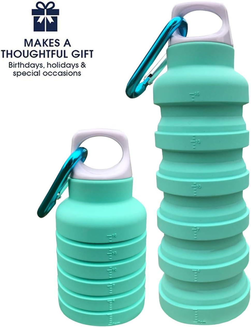 Botella de agua plegable de BMZX ThinsGo, plegable, portátil, a prueba de fugas, de silicona, ligera, respetuosa con el medio ambiente, reutilizable, para viajes, camping, senderismo, senderismo, corr