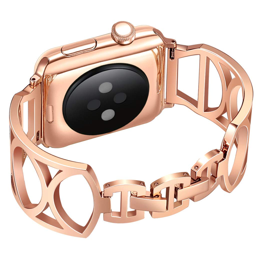 BabiQ Luxury Stainless Steel Strap Replacement for Apple Watch Series 1/2/3/4 38 / 40mm (Rose Gold)