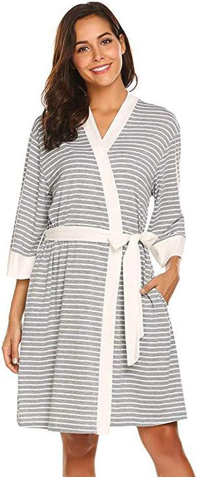 Pijamas de Maternidad Sección Delgada para después del Parto Ropa para el hogar Vestido de amamantamiento a Rayas Ropa de Dormir