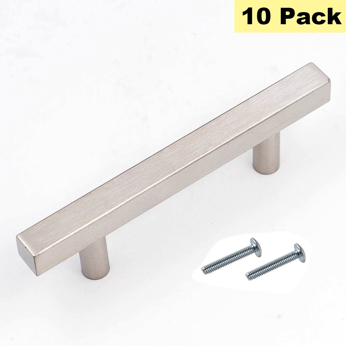 Square Cabinet Pulls 3.5 inch Drawer Pulls Brushed Nickel Cabinet Knobs - Peaha PHJ22BSS90 Cabinet Handles for Kitchen Bathroom Stainless Steel Furniture Hardware 10 Pack