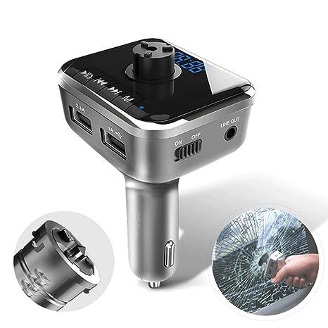 Bluetooth Transmisor FM, USB Cargador de Coche Inteligente ...