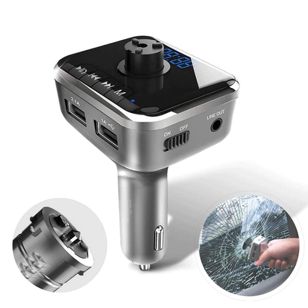 AXDNH Bluetooth FM Transmitter, USB Smart Car Charger MP3 Music Player Car Broken Window Escape Device AUX Input/Output, TF/SD Card Player
