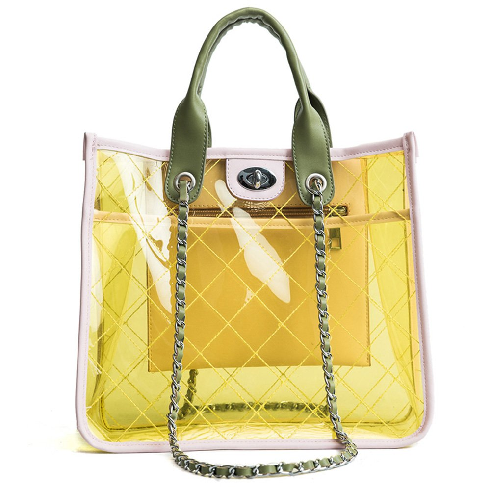 efdb8003f9bf Amazon.com: Women PVC Clear Quilted Shoulder Strap Transparent Bag  Waterproof Chain Purse Handbag (Yellow): WEEKAN
