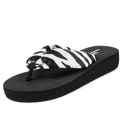 HYLR Zapatillas de señoras de moda Leopardo verano antideslizante sandalias de confortables zapatillas Havaianas Sandalias y