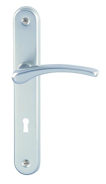 DT 2000 702230 - Tirador de puerta sobre placa Cluses (aluminio, con cerradura)