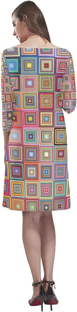 JC-Dress Half-Sleeve Loose Round Neck Dress Retro Cube Elegant Party Beach Dress