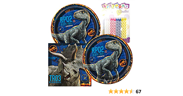 """Jurassic World Birthday Party Pack Includes 7/"""" Paper Plates /& Beverage Napkins P"""