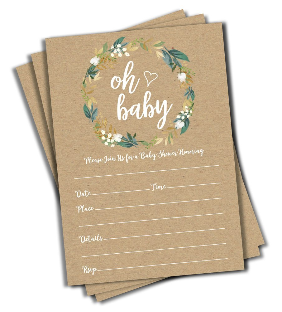 50 Oh Baby Kraft Greenery Invitations (Large Size 5x7) - Baby Shower Invitations (50 Count) by All Ewired Up