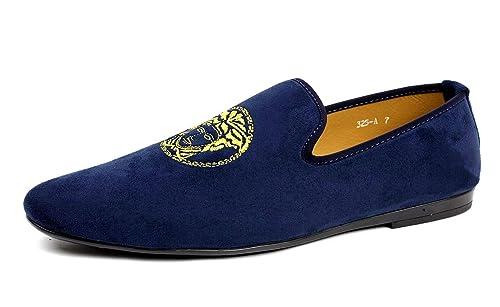 JAS Hombre Azul Marino Sin Cordones Diseño Italiano Mocasines Conducción Zapatos Casual Mocasin
