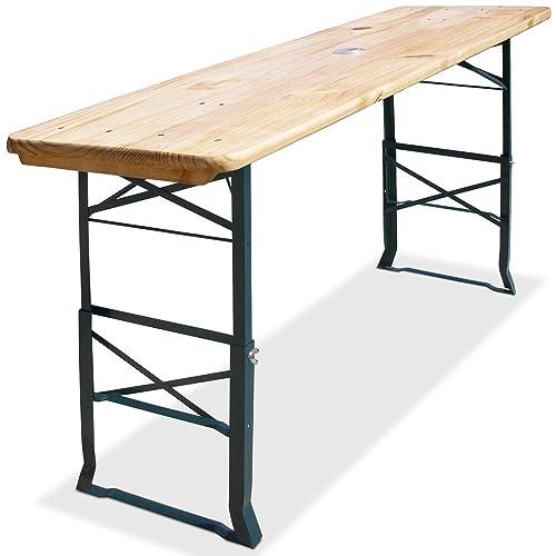 Deuba Wooden Trestle Beer Table Height Adjustable Bar 67x20 Inches Umbrella Holder Festivity BBQ Ale-Bench