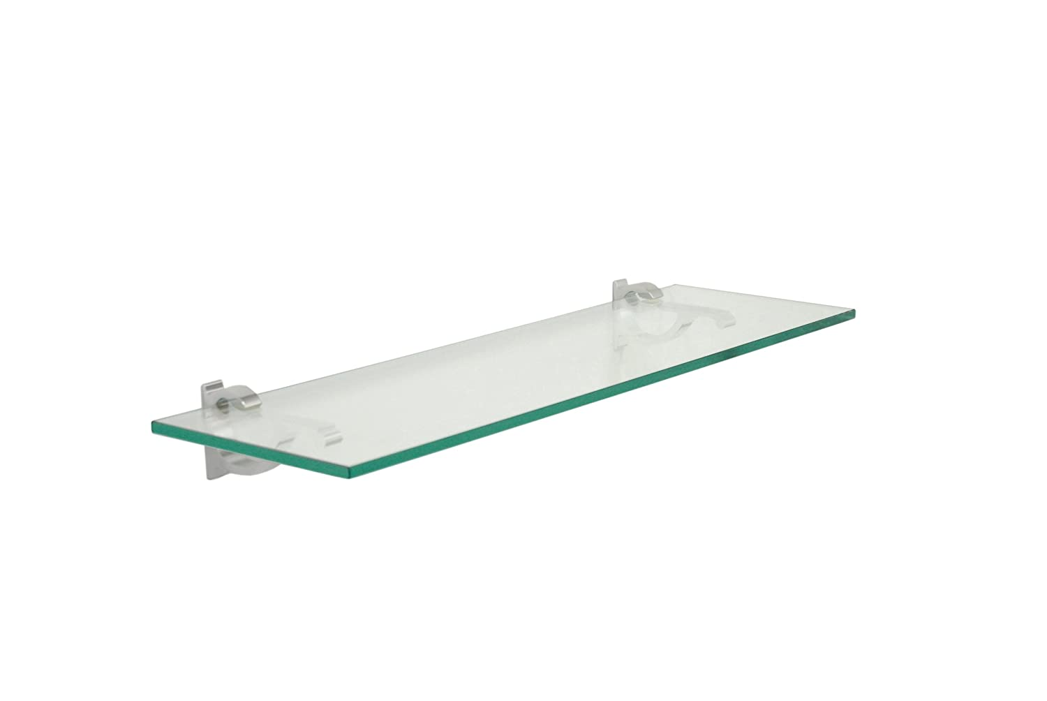 amazon com monarch floating glass shelf 8 in w x 48 in d home rh amazon com floating glass shelves bathroom floating glass shelves with lights