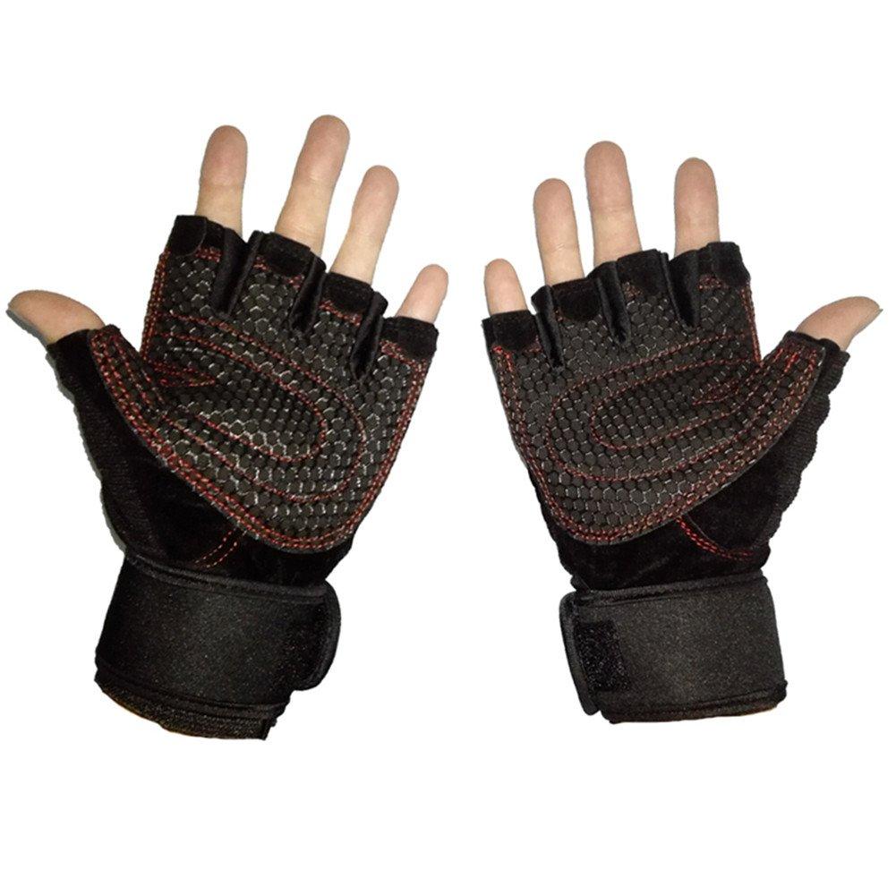 richermall levantamiento de pesas guantes con muñequera apoyo para ...