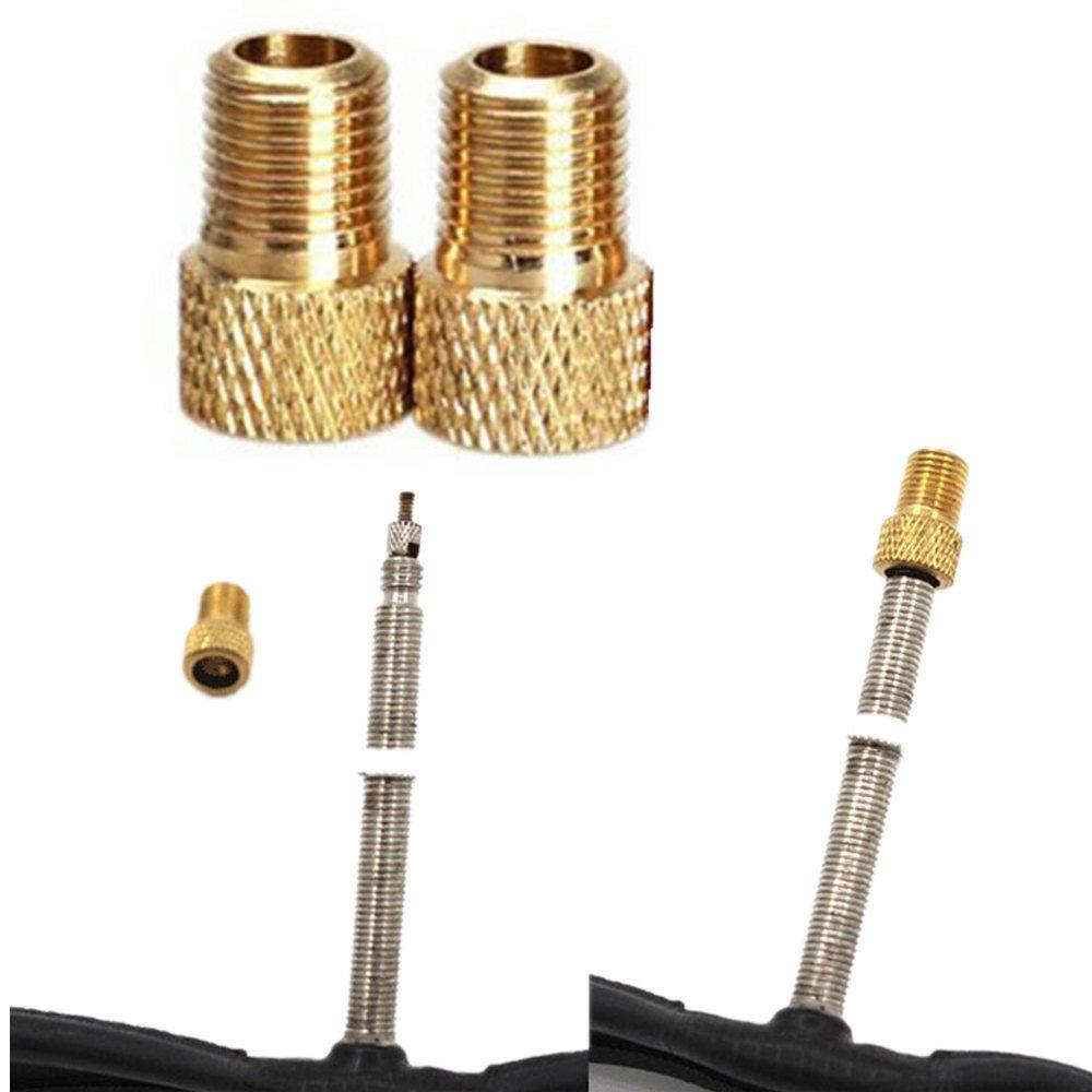 Lljin 2Pc Brass Adaptor Presta to Schrader Bicycle Valve Converter Bike Pump Connector