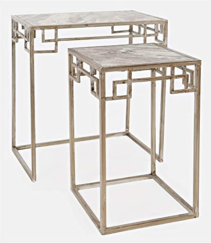 Jofran Global Archive Marble Nesting Accent Table Set, 22.75 L x 14.75 W x 24 H, Silver