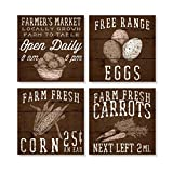Farmer's Market Country 4 x 4 Inch Tabletop Coasters Gift Boxed Set of 4