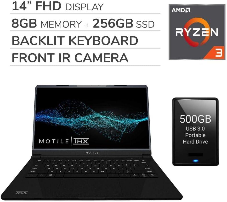 "MOTILE 2020 14"" FHD Performance Laptop Computer, 2-Core AMD Ryzen 3-3200U 2.6GHz, 8GB RAM, 256GB SSD, No DVD, Wi-Fi, Bluetooth,720p IR Webcam, HDMI, Windows 10, 500GB USB 3.0 External HDD"