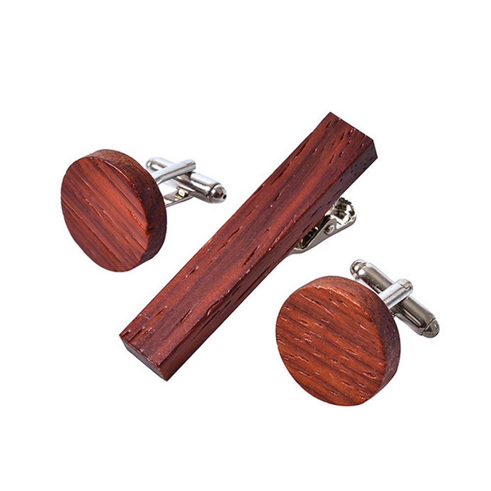 DURUI RURUI Handmade Wood Cufflinks Tie Clip Set Men's Natural Cufflinks Tie Bar Set with Gift Box Unique Gift to Lover 2.1 Inch-0.4inch (round AfricanPadauk)