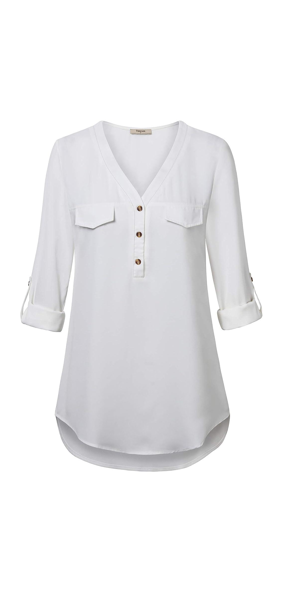 Women's V Neck Chiffon Blouses / Sleeve Button Down