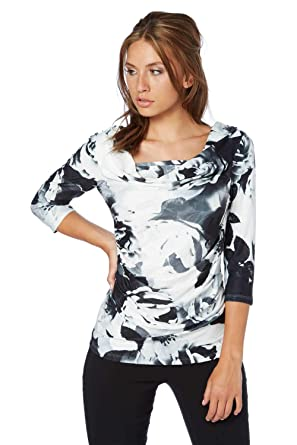 00a68d53ac9b7 Roman Originals Women Blurred Floral Print Cowl Neck Top - Ladies Jersey  3 4 Sleeve Sparkle Cocktail Party Evening Flattering Tops - White   Amazon.co.uk  ...